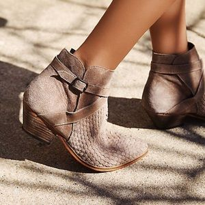 Free People Ventura Ankle Boot Woven Leather Sz 7